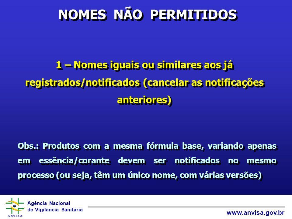 NOMES NÃO PERMITIDOS 1 – Nomes iguais ou similares aos já registrados/notificados (cancelar as notificações anteriores)