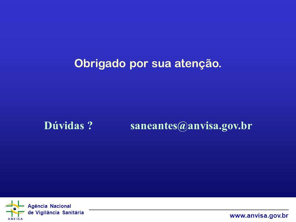 Dúvidas saneantes@anvisa.gov.br
