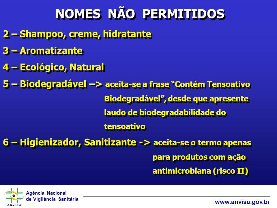 NOMES NÃO PERMITIDOS 2 – Shampoo, creme, hidratante 3 – Aromatizante