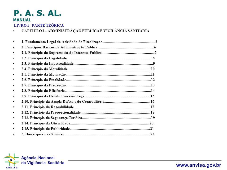 P. A. S. AL. MANUAL LIVRO 1 PARTE TEÓRICA