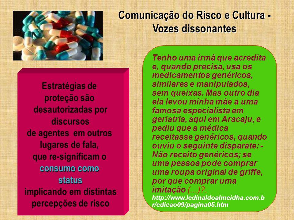 Comunicação do Risco e Cultura - implicando em distintas