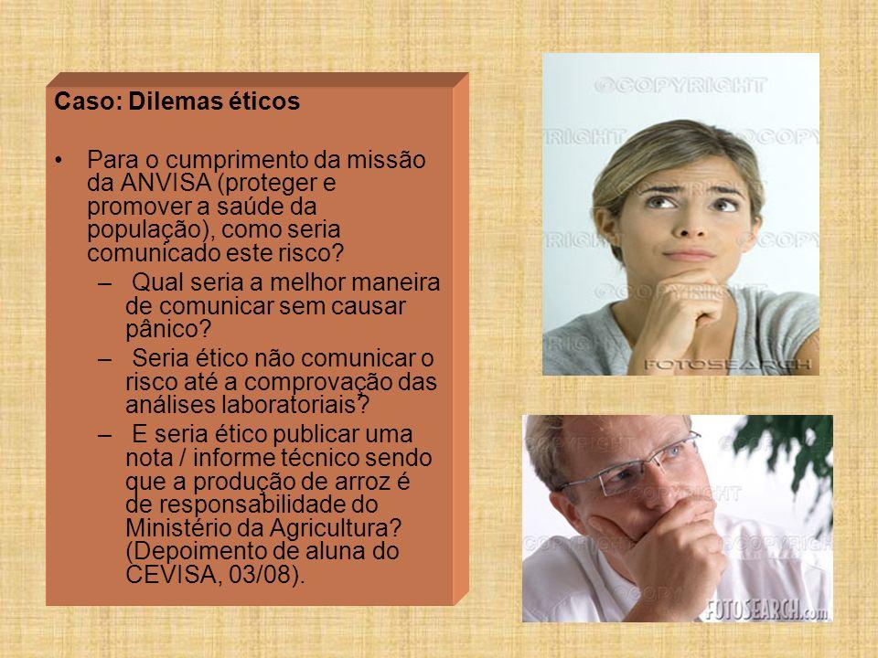 Caso: Dilemas éticos Para o cumprimento da missão da ANVISA (proteger e promover a saúde da população), como seria comunicado este risco