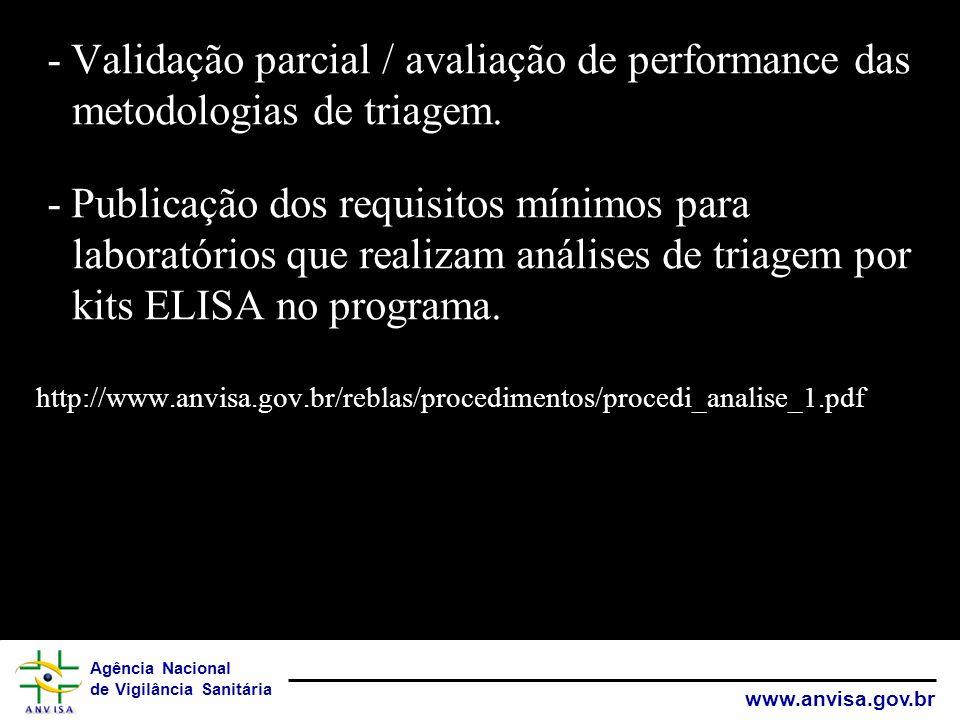 - Validação parcial / avaliação de performance das metodologias de triagem.
