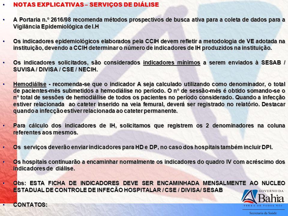 NOTAS EXPLICATIVAS – SERVIÇOS DE DIÁLISE