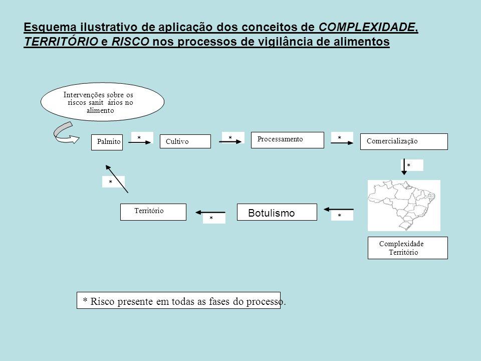 Esquema ilustrativo de aplicação dos conceitos de COMPLEXIDADE, TERRITÓRIO e RISCO nos processos de vigilância de alimentos