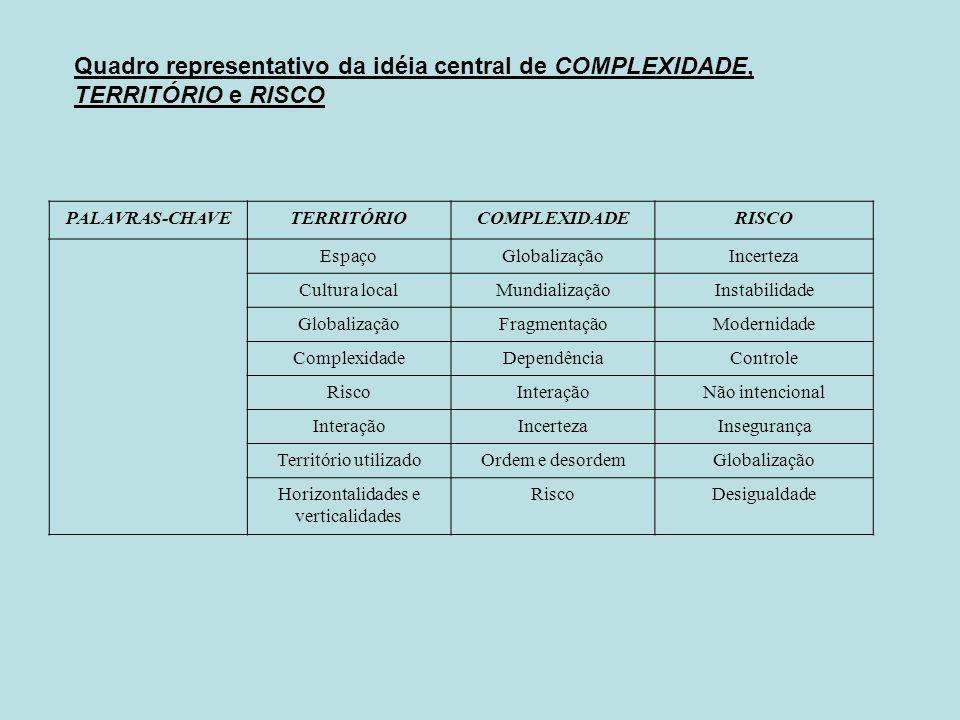 Quadro representativo da idéia central de COMPLEXIDADE, TERRITÓRIO e RISCO