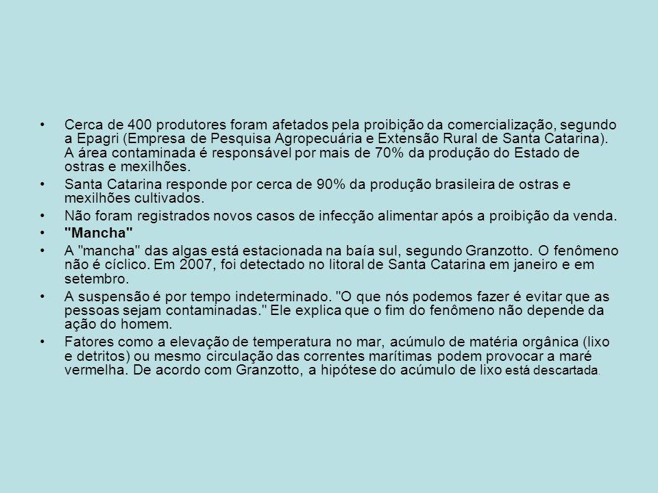 Cerca de 400 produtores foram afetados pela proibição da comercialização, segundo a Epagri (Empresa de Pesquisa Agropecuária e Extensão Rural de Santa Catarina). A área contaminada é responsável por mais de 70% da produção do Estado de ostras e mexilhões.