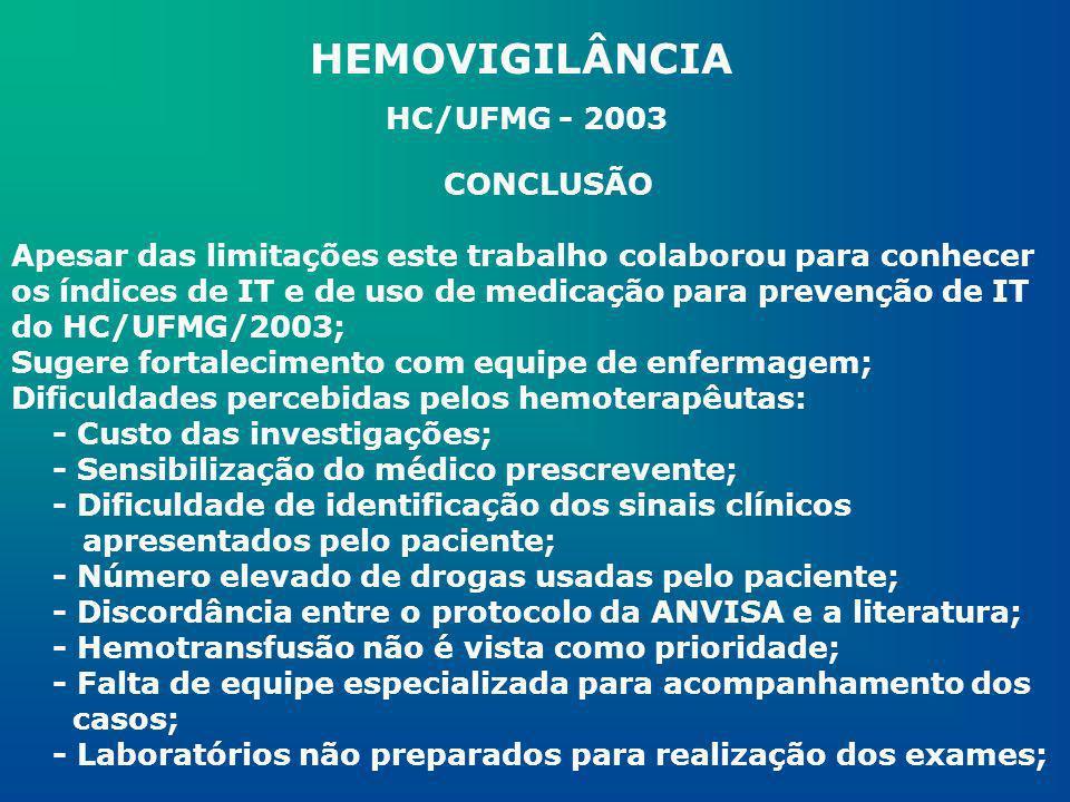 HEMOVIGILÂNCIA HC/UFMG - 2003 CONCLUSÃO