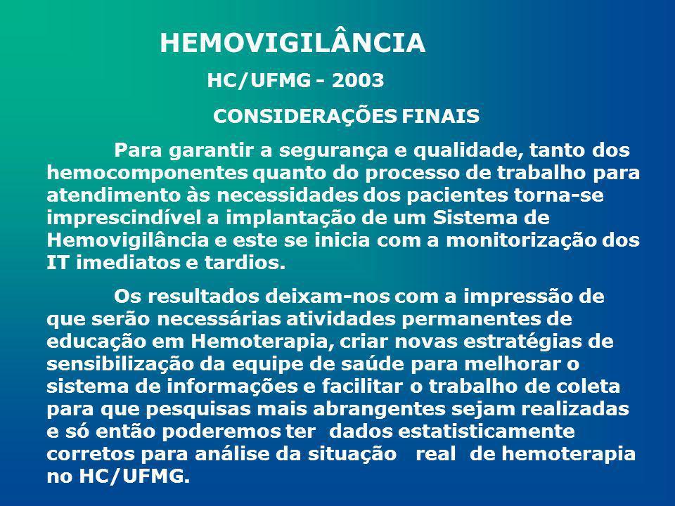 HEMOVIGILÂNCIA HC/UFMG - 2003 CONSIDERAÇÕES FINAIS