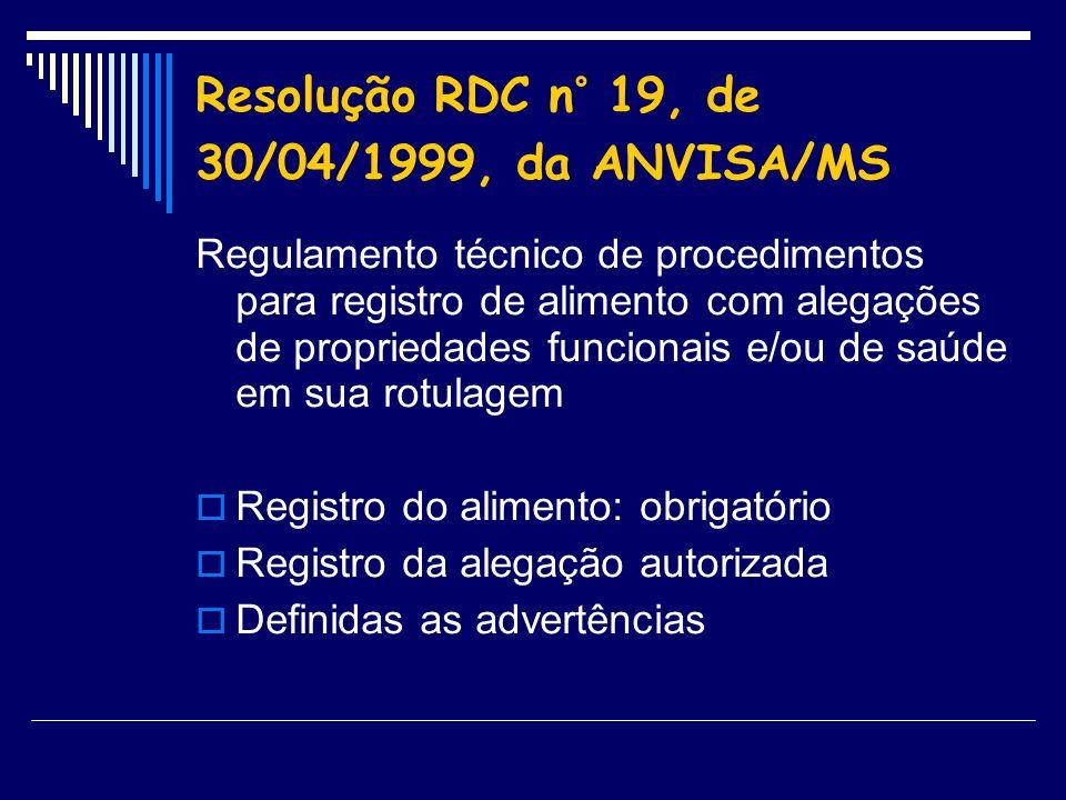 Resolução RDC n° 19, de 30/04/1999, da ANVISA/MS