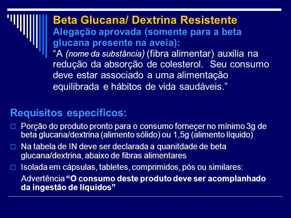 Beta Glucana/ Dextrina Resistente Alegação aprovada (somente para a beta glucana presente na aveia): A (nome da substância) (fibra alimentar) auxilia na redução da absorção de colesterol. Seu consumo deve estar associado a uma alimentação equilibrada e hábitos de vida saudáveis.