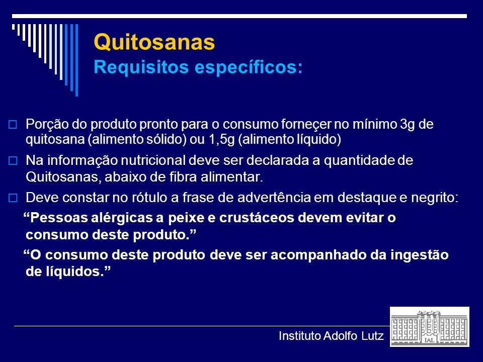 Quitosanas Requisitos específicos: