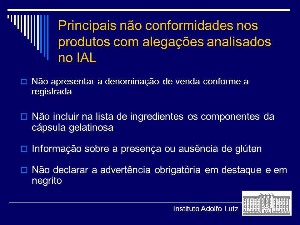 Principais não conformidades nos produtos com alegações analisados no IAL