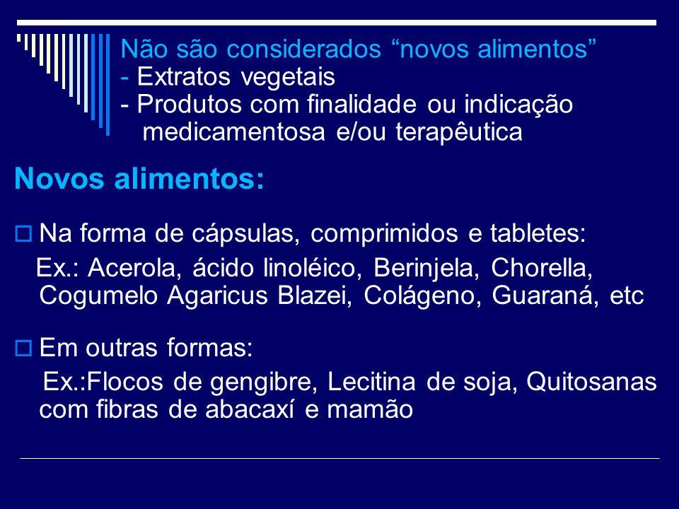 Não são considerados novos alimentos - Extratos vegetais - Produtos com finalidade ou indicação medicamentosa e/ou terapêutica
