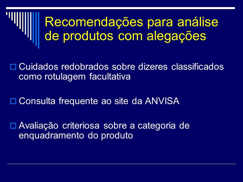 Recomendações para análise de produtos com alegações