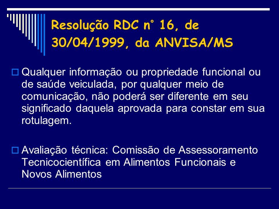 Resolução RDC n° 16, de 30/04/1999, da ANVISA/MS