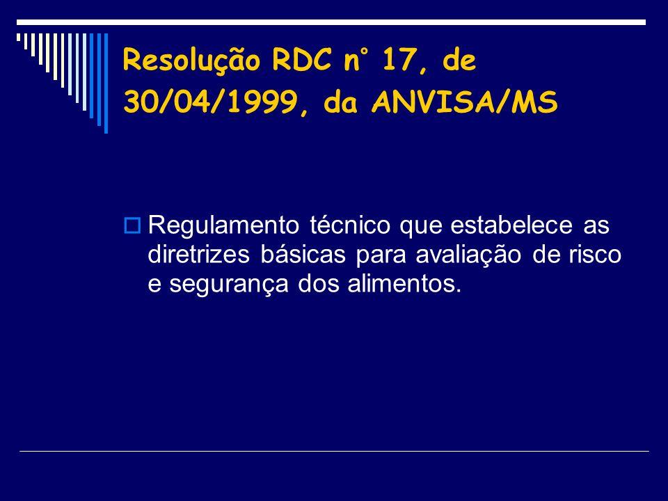 Resolução RDC n° 17, de 30/04/1999, da ANVISA/MS