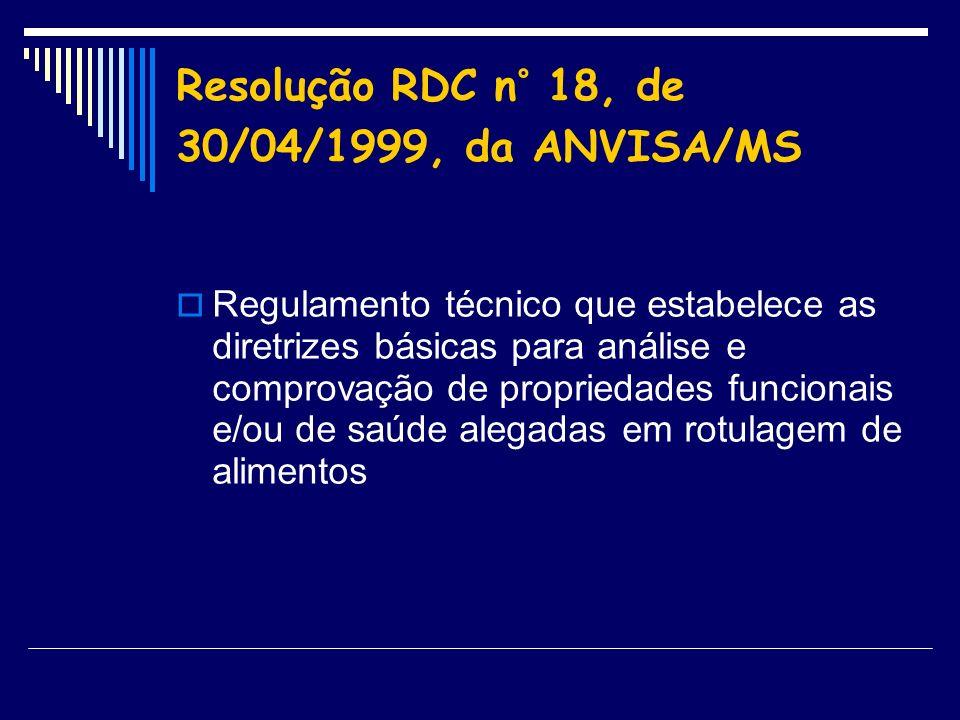 Resolução RDC n° 18, de 30/04/1999, da ANVISA/MS
