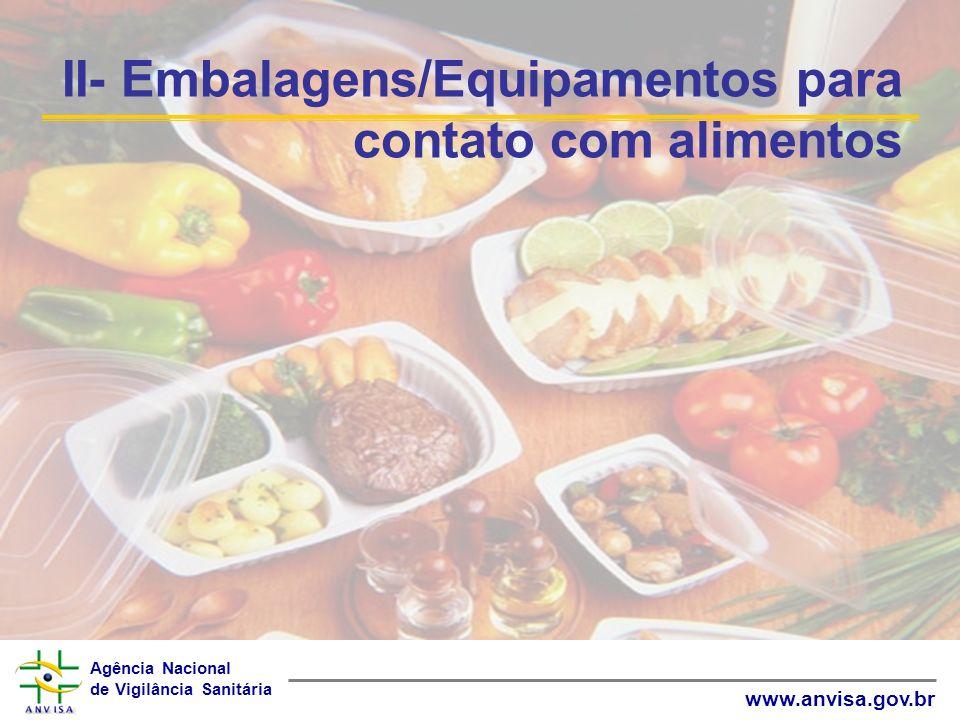 II- Embalagens/Equipamentos para contato com alimentos
