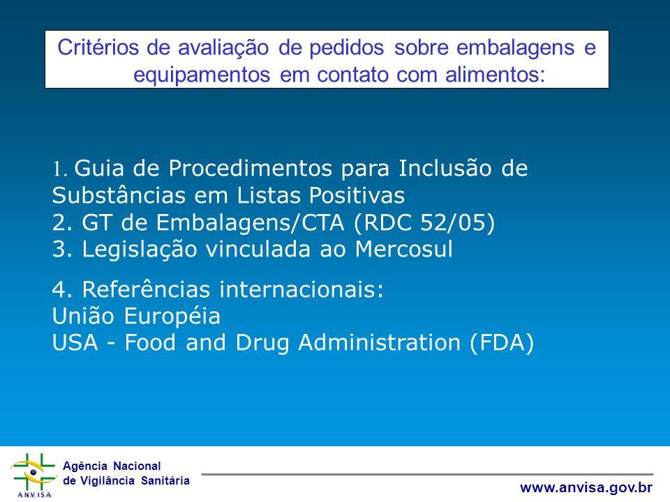 Critérios de avaliação de pedidos sobre embalagens e equipamentos em contato com alimentos: