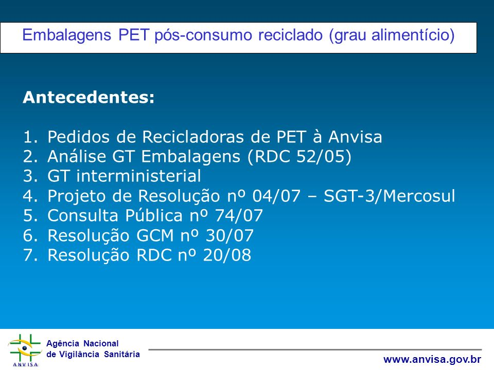 Embalagens PET pós-consumo reciclado (grau alimentício)