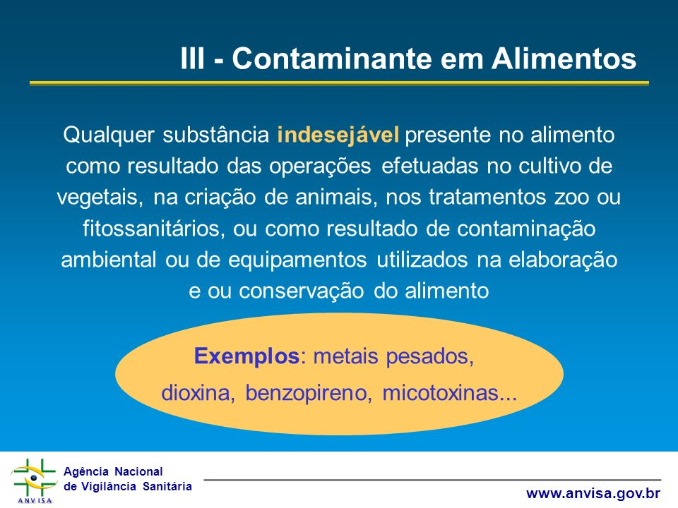 III - Contaminante em Alimentos