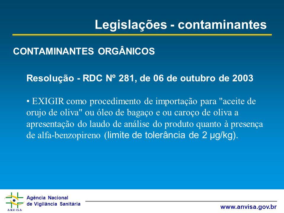 Legislações - contaminantes