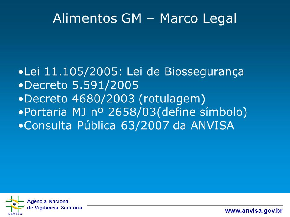 Alimentos GM – Marco Legal