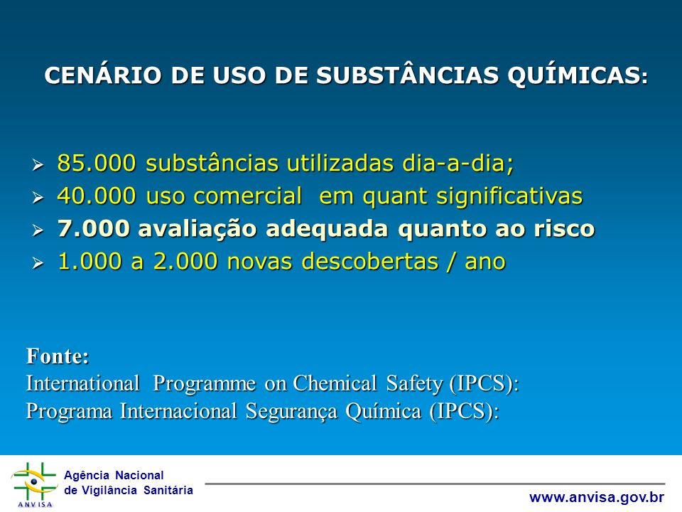 85.000 substâncias utilizadas dia-a-dia;