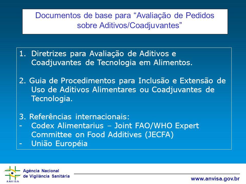 Documentos de base para Avaliação de Pedidos sobre Aditivos/Coadjuvantes