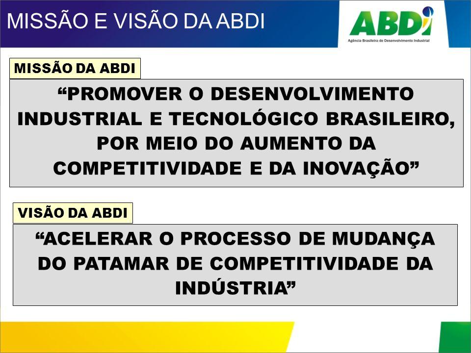 MISSÃO E VISÃO DA ABDI MISSÃO DA ABDI.