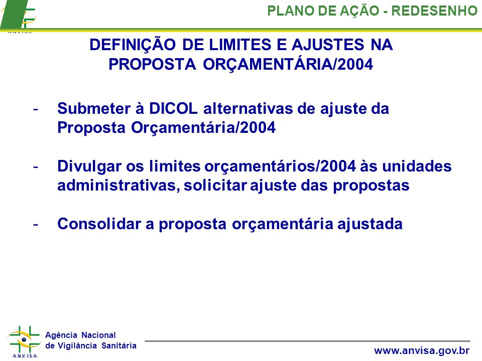 DEFINIÇÃO DE LIMITES E AJUSTES NA PROPOSTA ORÇAMENTÁRIA/2004