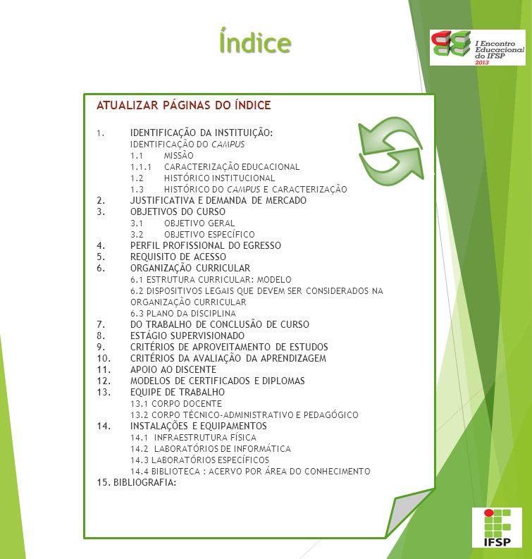 Índice ATUALIZAR PÁGINAS DO ÍNDICE 1. IDENTIFICAÇÃO DA INSTITUIÇÃO: