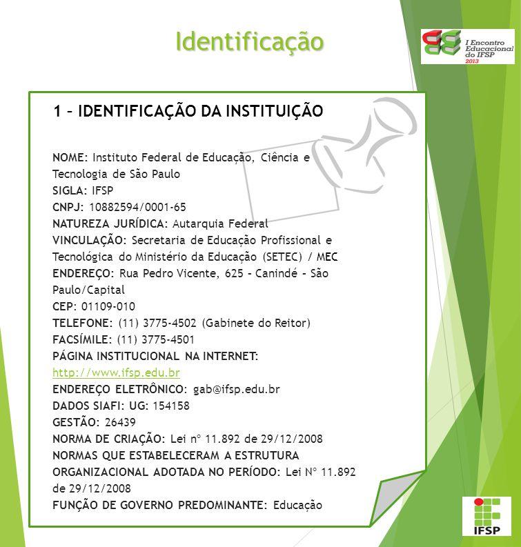 Identificação 1 – IDENTIFICAÇÃO DA INSTITUIÇÃO