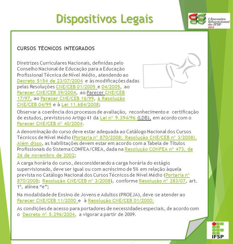 Dispositivos Legais CURSOS TÉCNICOS INTEGRADOS