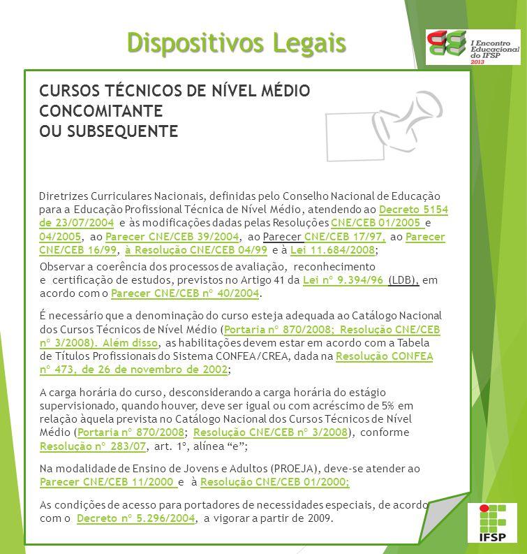 Dispositivos Legais CURSOS TÉCNICOS DE NÍVEL MÉDIO CONCOMITANTE