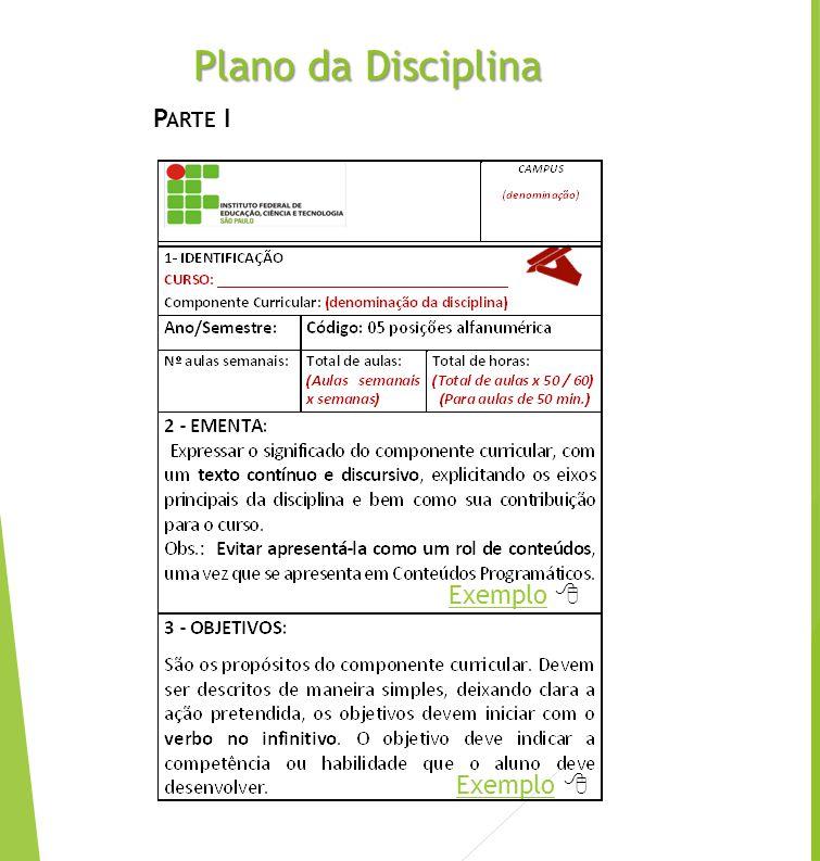 Plano da Disciplina Parte I Exemplo  Exemplo 