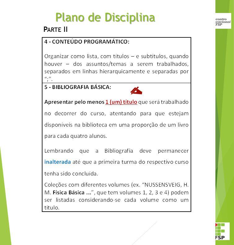 Plano de Disciplina Parte II