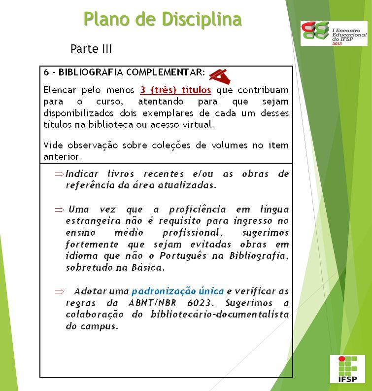 Plano de Disciplina Parte III