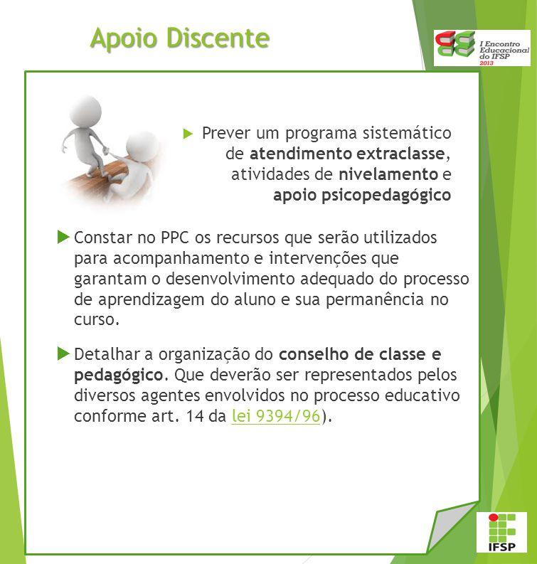 Apoio Discente Prever um programa sistemático de atendimento extraclasse, atividades de nivelamento e apoio psicopedagógico.