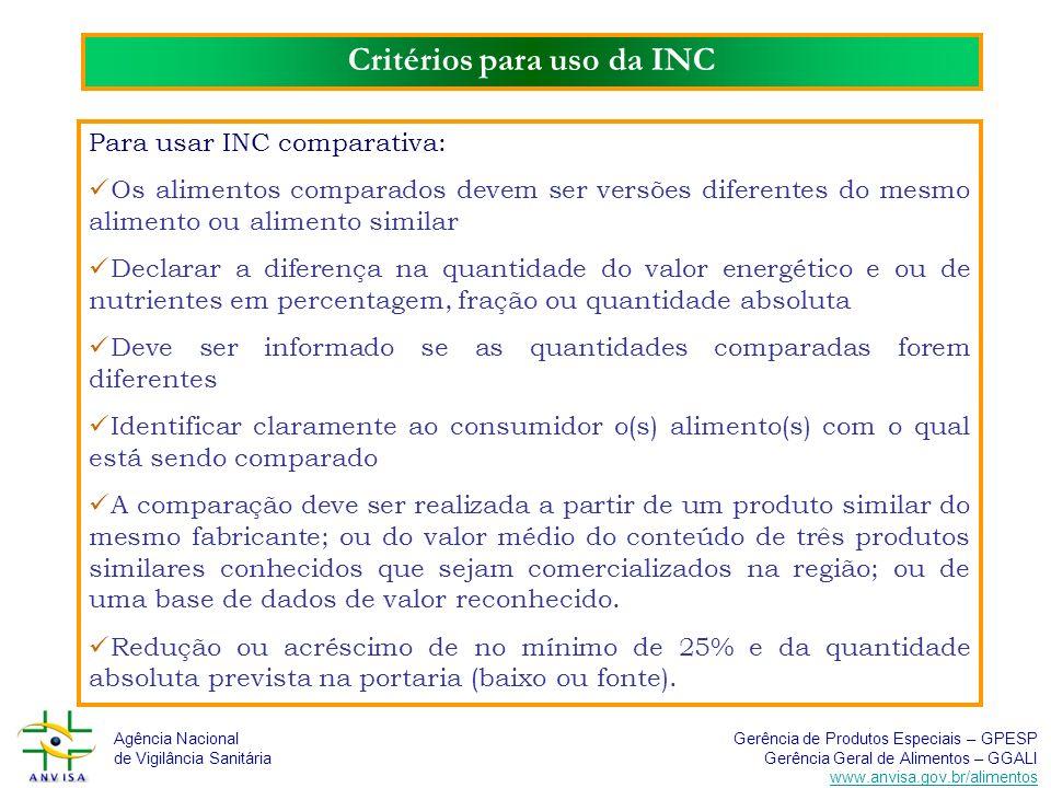 Critérios para uso da INC