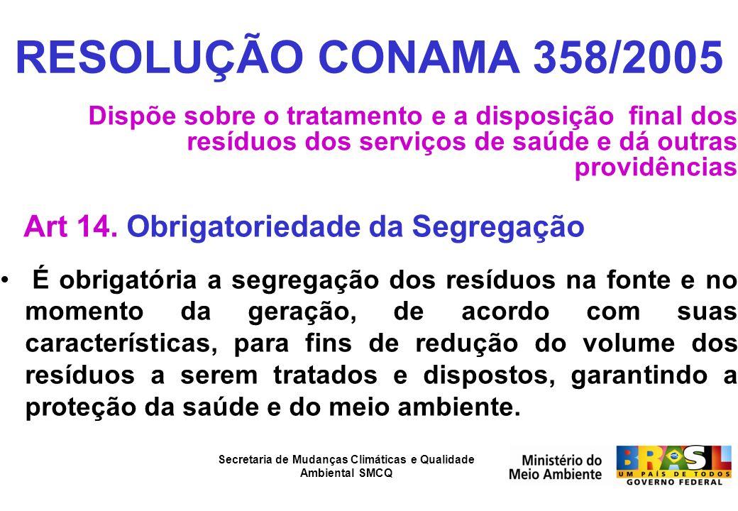RESOLUÇÃO CONAMA 358/2005 Art 14. Obrigatoriedade da Segregação