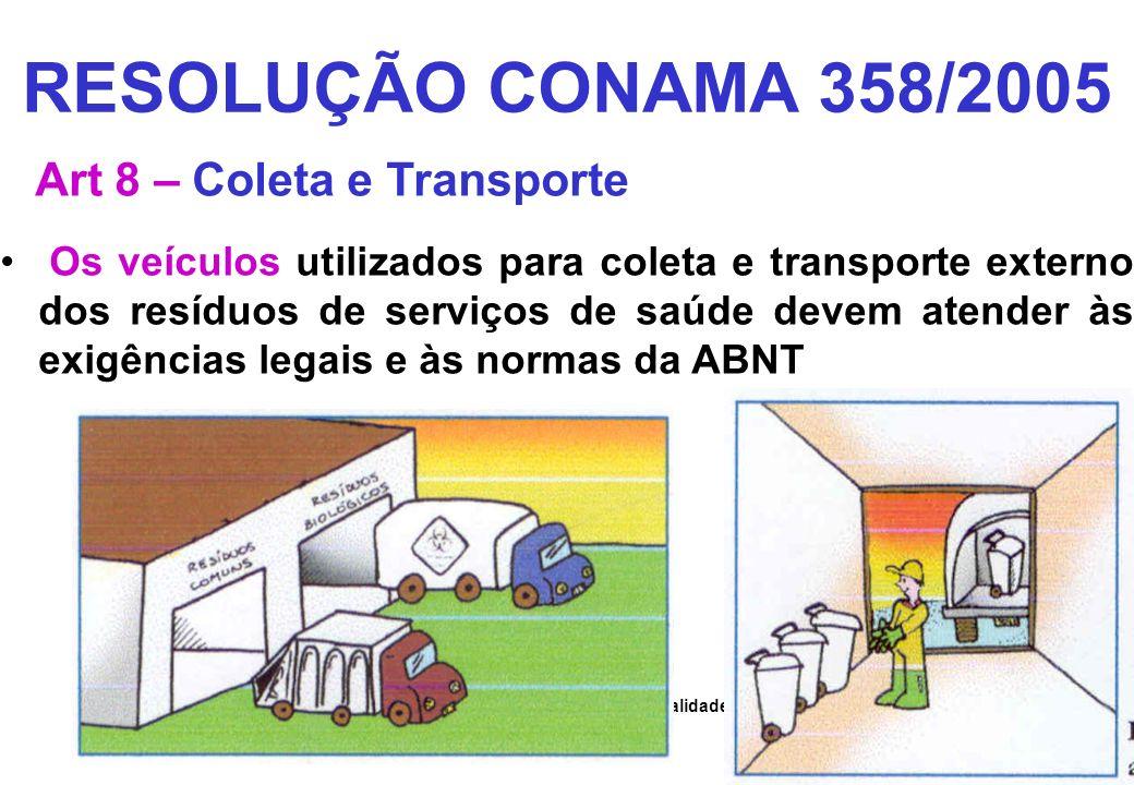 RESOLUÇÃO CONAMA 358/2005 Art 8 – Coleta e Transporte