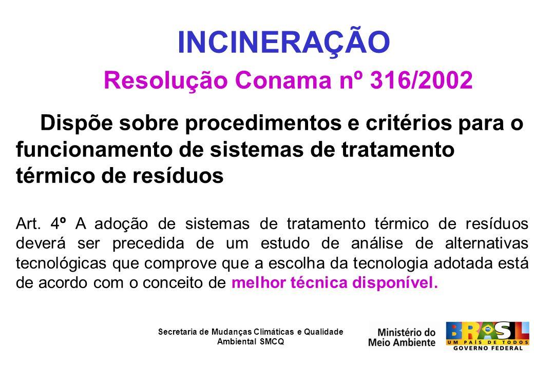 INCINERAÇÃO Resolução Conama nº 316/2002