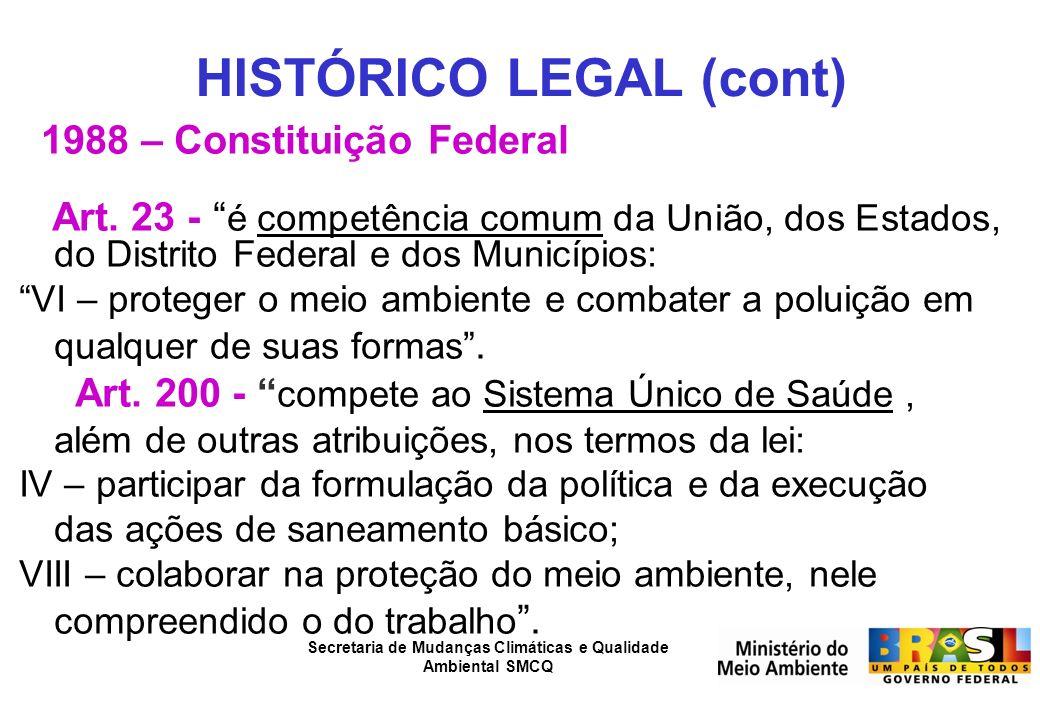 HISTÓRICO LEGAL (cont)