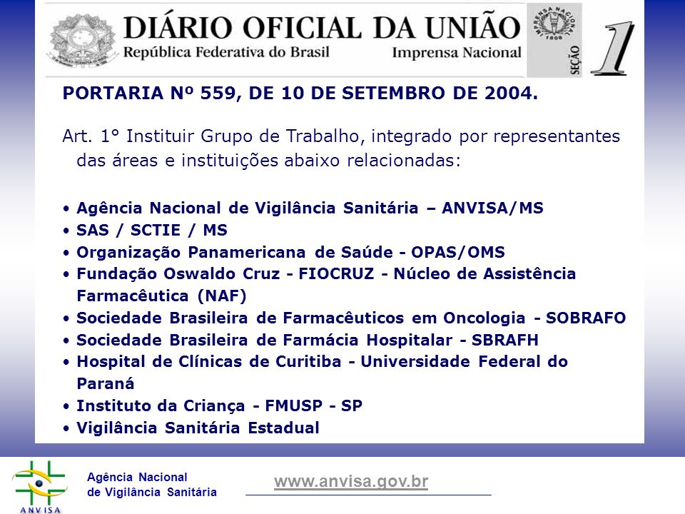 PORTARIA Nº 559, DE 10 DE SETEMBRO DE 2004.