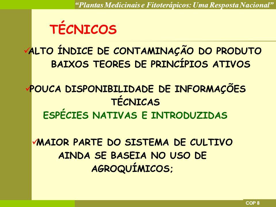 TÉCNICOS ALTO ÍNDICE DE CONTAMINAÇÃO DO PRODUTO BAIXOS TEORES DE PRINCÍPIOS ATIVOS. POUCA DISPONIBILIDADE DE INFORMAÇÕES TÉCNICAS.