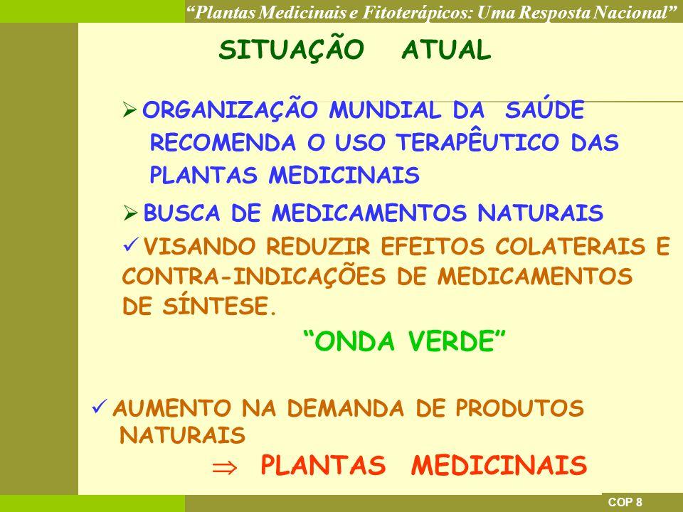 SITUAÇÃO ATUAL ONDA VERDE  PLANTAS MEDICINAIS