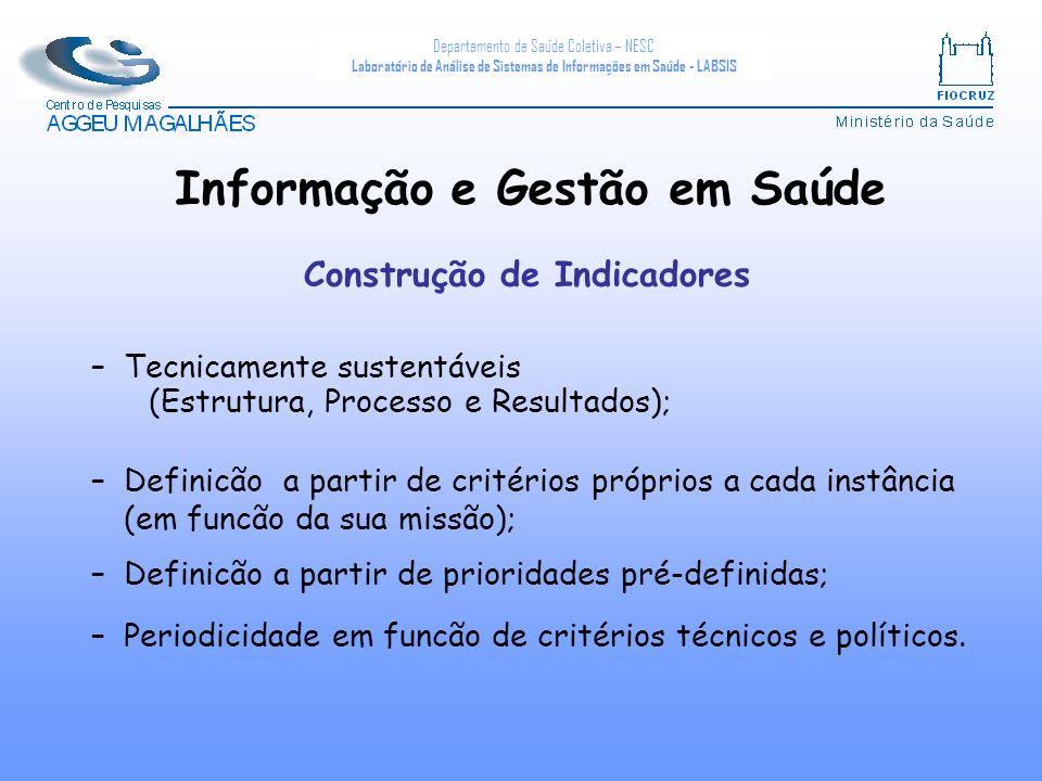 Informação e Gestão em Saúde Construção de Indicadores
