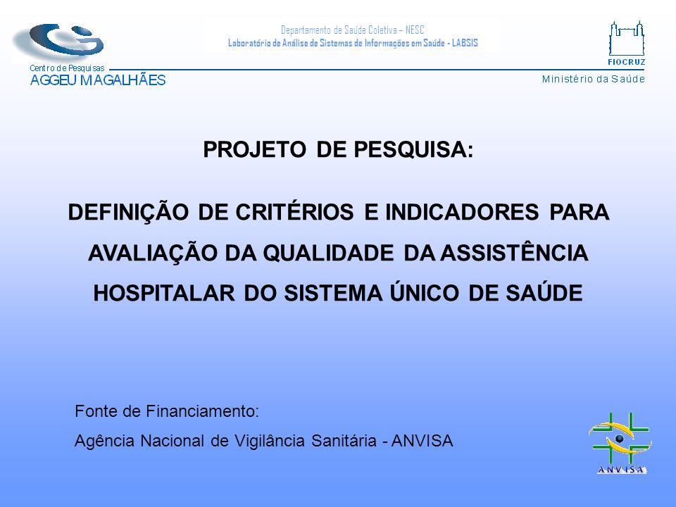PROJETO DE PESQUISA: DEFINIÇÃO DE CRITÉRIOS E INDICADORES PARA AVALIAÇÃO DA QUALIDADE DA ASSISTÊNCIA HOSPITALAR DO SISTEMA ÚNICO DE SAÚDE.